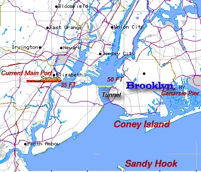 Map of NY Harbor with proposed Tunnel